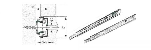 Kugeleinfachauszug für Nut 17 mm