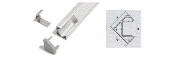 LED Eck-Aufbauprofil 19x19 mm / System 3