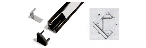 LED Eck-Aufbauprofil 19x19 mm / System 3 / schwarz