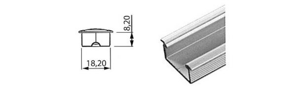 LED Einlassprofil 18x8 mm