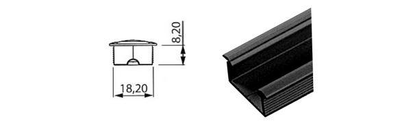 LED Einlassprofil 18x8 mm / schwarz RAL 9005 matt