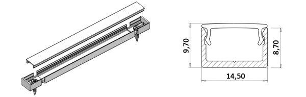 LED Aufbauprofil 14,5x9 mm