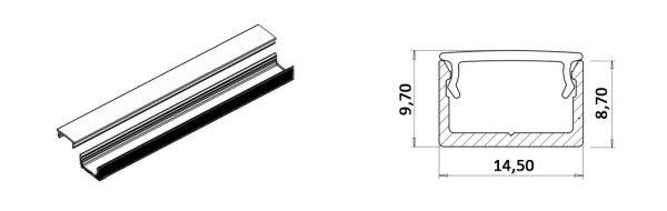 LED Aufbauprofil 14,5x9 mm / schwarz RAL 9005 matt